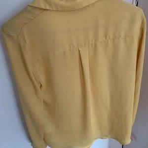 Yellow button down shirt for women's